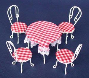 袖珍魔法世界**迷你白色鐵桌+4圓椅(含紅白格子桌布及椅墊  )   1/12縮小比例