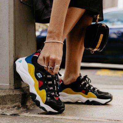 現貨 iShoes正品 Skechers D Lites 3.0 女鞋 黑 黃 復古 老爹鞋 運動鞋 12955BKYL