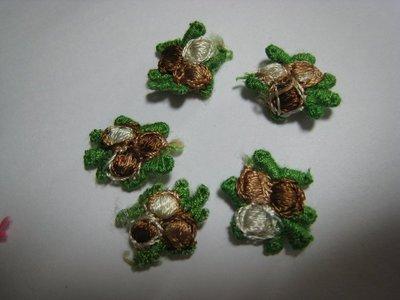 【蕾絲工坊】↙DIY手作材料↗ 刺繡水溶蕾絲貼布貼*M01003*咖啡色小花(2朵1元)