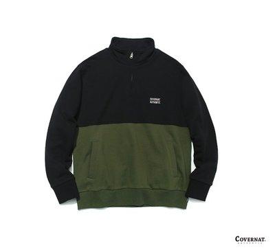 GOODFORIT / 韓國COVERNAT COLOR BLOCK HALF ZIP-UP半開拉鍊復古撞色球衫/兩色