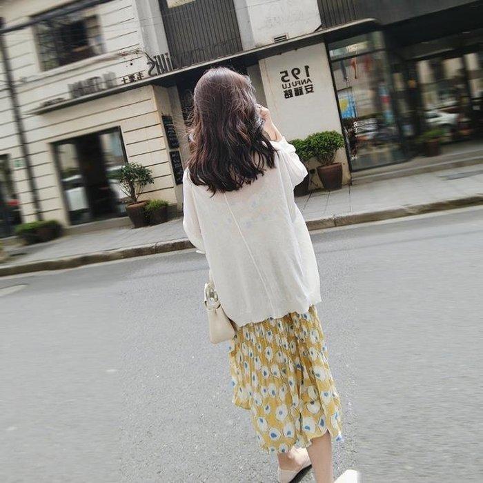 薄款慵懶風防曬衫針織外套女中長款冰絲防曬