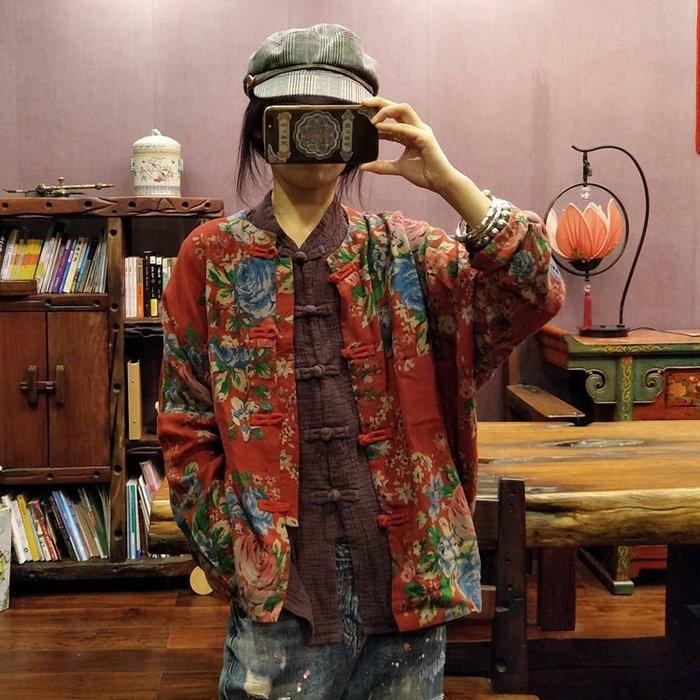 【子芸芳】原創復古大花對襟盤扣薄外套上衣
