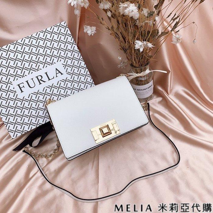 Melia 米莉亞代購 商城特價 數量有限 FURLA MINI 斜背包 牛皮魚子醬紋 時尚簡約 氣質百搭 白色