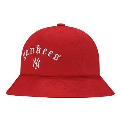 特價【韓Lin連線代購】韓國 MLB --白NY刺繡YANKEES紅色漁夫帽STREET GOTHIC WORDING