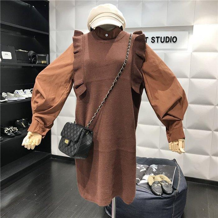 薄外套 外套 衛衣 開衫外套 毛衣秋裝新款時尚燈籠袖氣質襯+木耳邊針織無袖背心裙(分開賣)