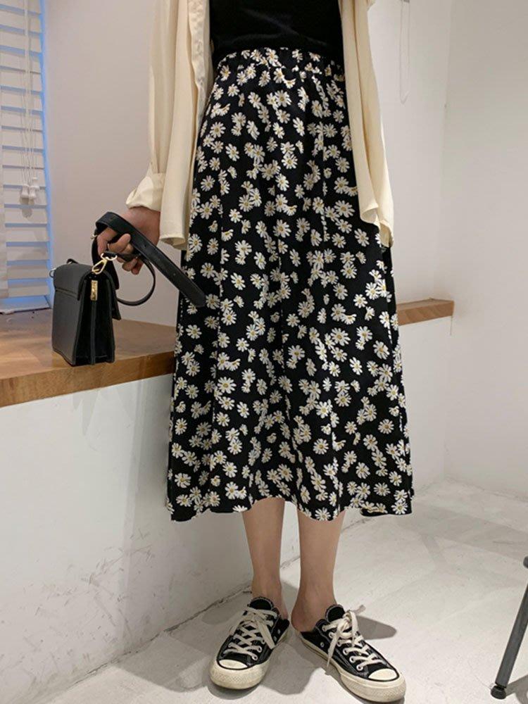 半身裙女2020春裝新款高腰小雛菊碎花裙子寬松褲裙中長裙網紅短裙