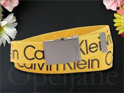 美國官網真品 Calvin Klein CK Belt 卡文克萊黃色百搭休閒皮帶腰帶童軍皮帶 M L號 愛COACH包包