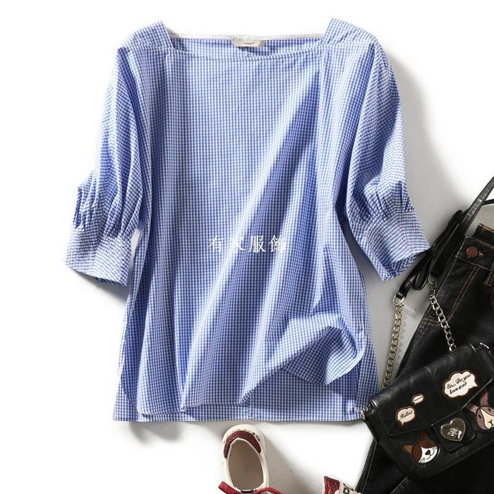 有家服飾の[A543977] 笑涵閣 清爽百搭藍白格紋 時尚方領七分袖套頭上衣