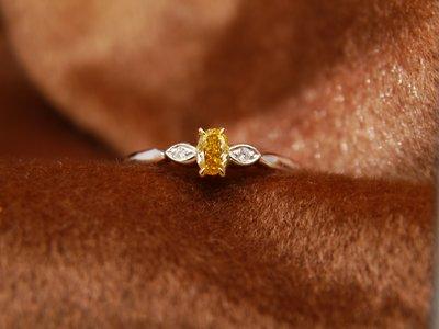 輕珠寶 天然鑽石 彩鑽 橢圓形橘黃鑽精緻小線戒 14K金鑽戒 比agete份量更足 閃亮珠寶