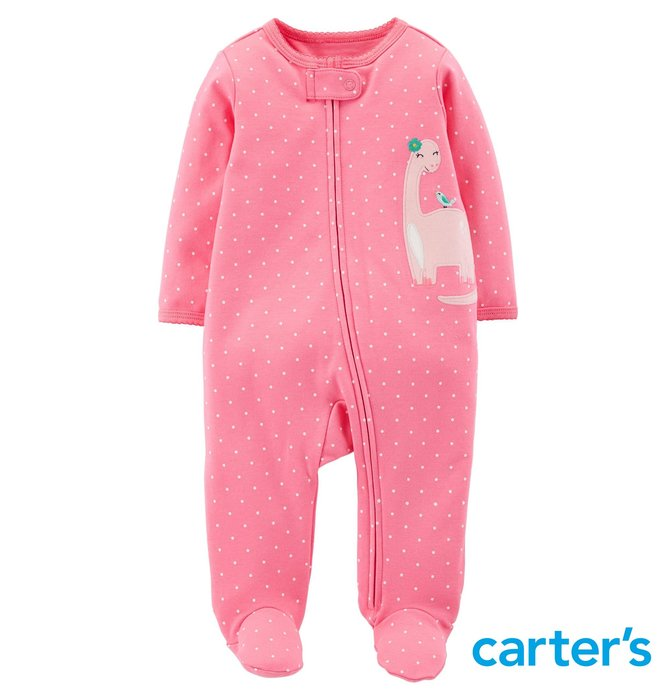 Carter's 卡特 美國品牌童裝・新生兒 嬰兒 包屁衣 包腳衣 連身包腳衣 長袖連身衣・秋冬款 新品現貨(甜美恐龍)