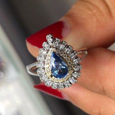 【藍寶石戒指】天然斯里蘭卡藍寶石戒指 矢車菊藍 優雅水滴型 乾淨澄澈 高淨度