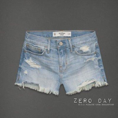 【零時差美國時尚網】A&F Abercrombie&Fitch High Rise Shorts淺藍色高腰洗舊刷破牛仔短褲