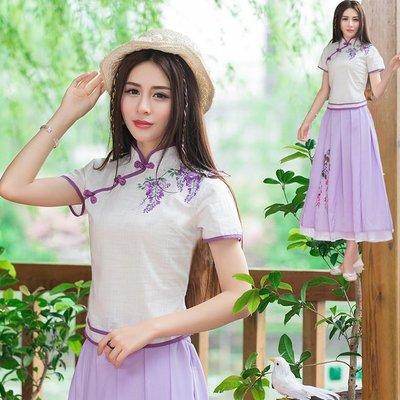 2017春夏新款民族風 改良 修身旗袍上衣印花盤扣短袖T恤 紫羅蘭