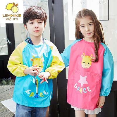 【Kathie Shop】韓國lemonkid小鹿款兒童防水環保畫畫衣反穿衣工作服圍兜吃飯衣 六色
