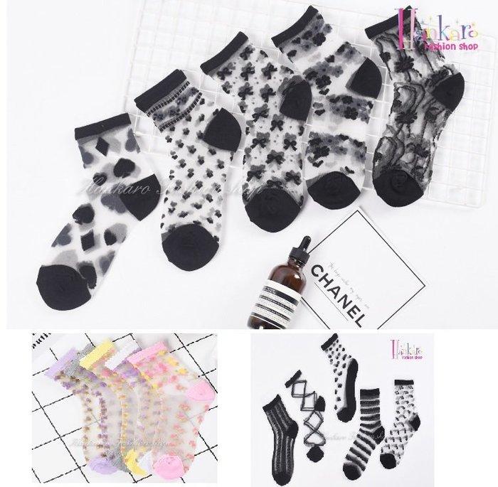 ☆[Hankaro]☆ 流行爆款水晶絲短襪透明襪彩色蕾絲風格(5雙一組)