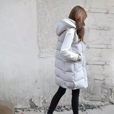 Modem Girl♥ 「免運費」正韓 推薦 好質感 太空棉立體鋪棉長版連帽背心外套 (特價)
