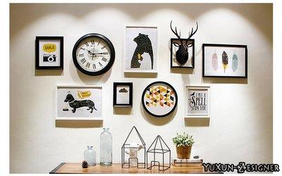 實木相框牆 鹿頭時鐘相片牆 相框 掛鐘40CM 北歐美式法式鄉村裝飾角餐廳服飾店客廳 居家裝潢創意組合 宥薰設計家