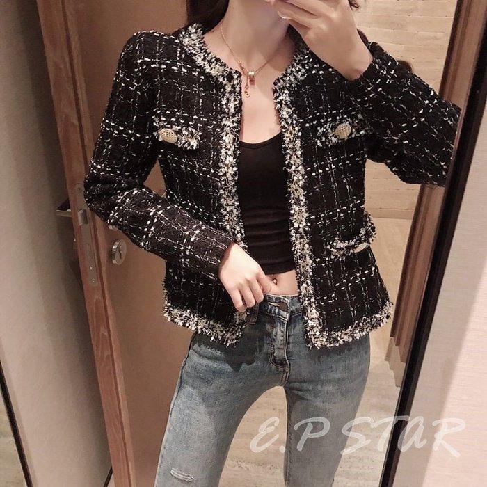 【E.P STAR】歐美小香風 復古粗花毛呢混色編織 粗針織流蘇 長袖外套