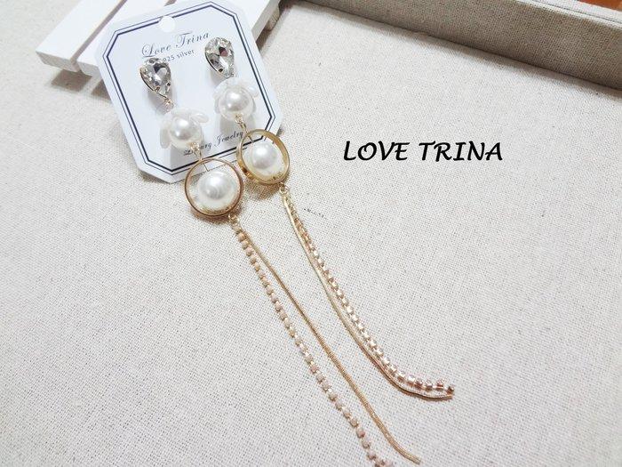 【Love Trina】A5515-8155。 925銀針。珍珠花朵水滴亮鑽長流蘇耳針式耳環--銀針(1色)