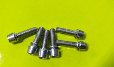 ~騎車趣~6個一組M5*18mm不鏽鋼墊片螺絲 錐形螺絲華司 龍頭 座管 M5×18mm 台灣製造