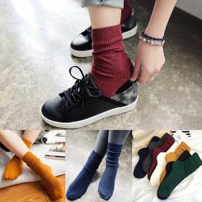 韓國秋冬百搭 螺紋素色中筒襪長襪 單色純色 襪子 堆堆襪【RS515】