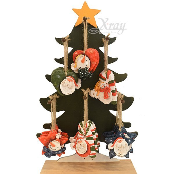 節慶王【X018014】陶製吊飾-星心拐杖公公雪人(6款-隨機出貨),聖誕節/掛飾/陶器/手作/吊飾/裝飾/擺飾