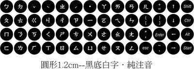 ◎訂製鍵盤貼紙~優質品,不反光筆記型鍵盤貼紙.黑底白字-純注音.鍵盤貼紙尺寸:尺寸:圓形1.2cm