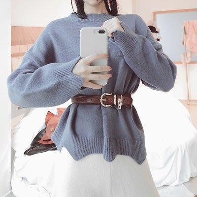 毛 衣 兔毛針織衫-圓領純色花邊時尚女上衣3色73uc36[獨家進口][巴黎精品]