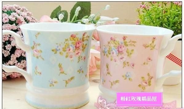 粉紅玫瑰屋~ 陶瓷茶杯,生活系列 玫瑰花茶杯~藍色