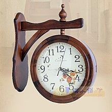 129 華城小鋪 時鐘 靜音 北歐 雙面鐘 民宿 歐式 掛鐘 小資實木雙面鐘