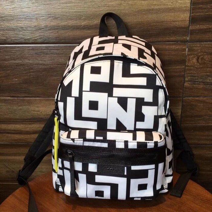 新款 白色 LONGCHAMP LGP 字母 1119 雙肩包後背包 旅行包 拉鍊背包 輕便 防水 加厚尼龍拼接皮革 耐用 旅遊 中號 限量優惠