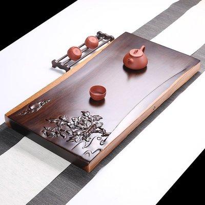 直銷黑檀木茶盤雕刻茶盤整版實木茶臺P1010