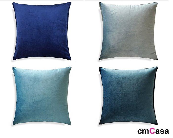 = cmCasa = [5341]現代歐式簡約設計 絲絨包邊秋藍色系抱枕套55x55 多色多尺寸新發行