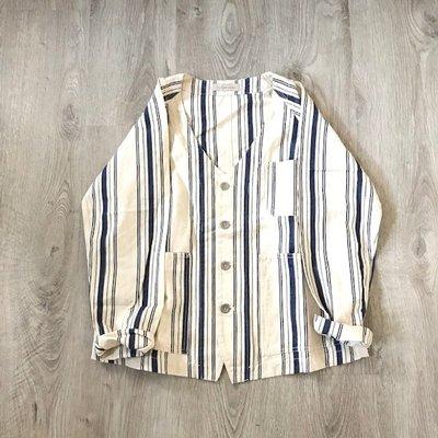 現貨 日本高單價品牌 bisque by nest robe 法式 V領 條紋 洗舊感 西裝外套 日本製 雜誌款