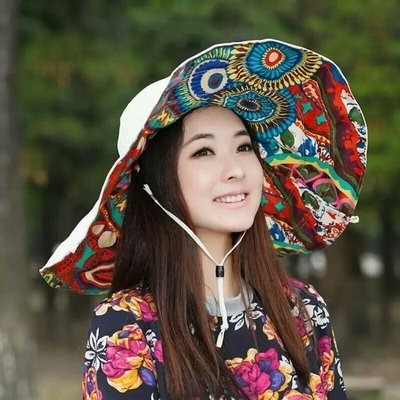SR 防曬帽 遮陽帽 超大帽檐遮陽帽 沙灘帽 雙面可用 可折叠 泥泊爾米色 現貨