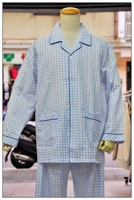 台灣製春夏新款@保證柔軟舒適100%純綿藍格成套睡衣@編號6094~免運費~