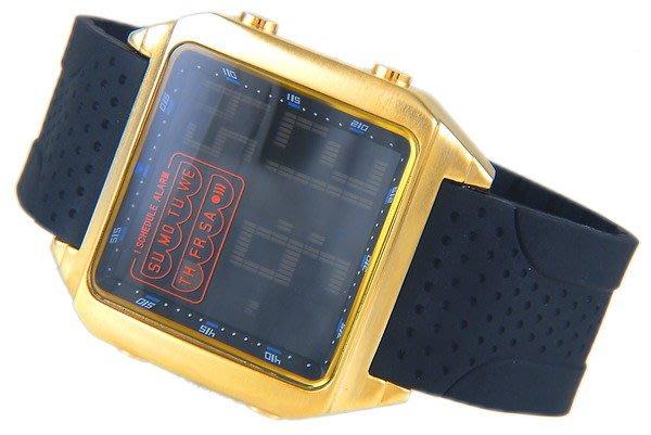 @(六四三精品)@大型O.T.S(真品)LED冷光黃金錶殼.矽膠錶帶電子錶!星期.日期....