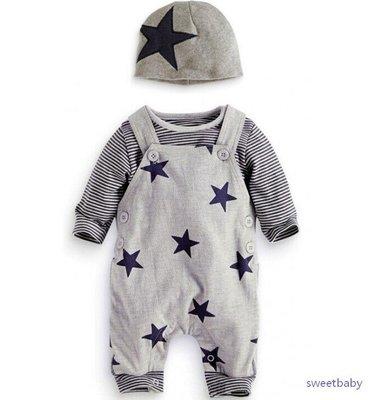 *蜜寶貝*嬰幼童 全新<3件套>-00402星星背帶長褲+長袖T+帽子70-100-0019
