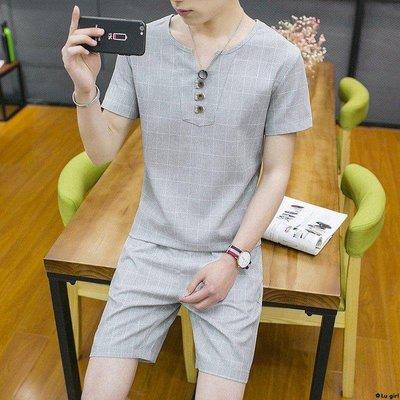 ✿Lu girl 夏格子套裝男T恤短袖...
