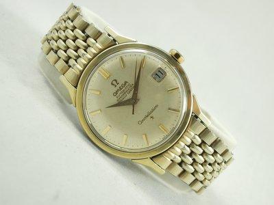【發條盒子A1680】OMEGA constellation系列  金面套金 自動不銹鋼套金 經典鍊帶男錶