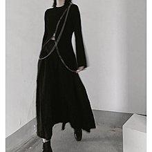 Dark.Q FM 山本暗黑風重工心機拉鏈針織衫拼接下擺開叉修身喇叭袖針織毛衣