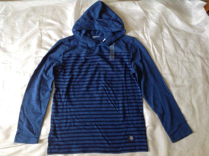 【天普小棧】GAP Kids Stripe Hood Tee長袖連帽T恤藍色條紋大童XXL(14-16)大人可穿