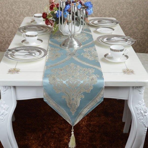 5Cgo【宅神】會員有優惠45544731757 歐式奢華現代簡約時尚淺藍色調桌布餐桌旗茶幾旗床旗桌墊小茶几桌面裝飾床