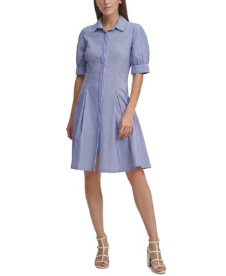 DKNY Striped Textured Button-Down Pleated Shirtdress