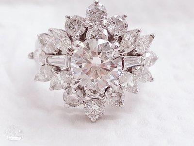 GIA 1.28 克拉 無敵豪華 鑽石戒指
