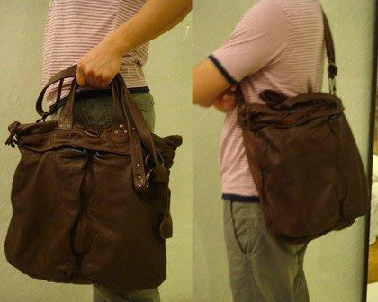 【100%真品】Moni Moni 牛皮巧克力色  大手提  側背  肩背包