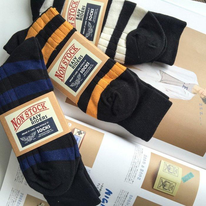 現貨 RRL風格 美式復古 粗線條紋襪 純棉中高筒 囚犯襪