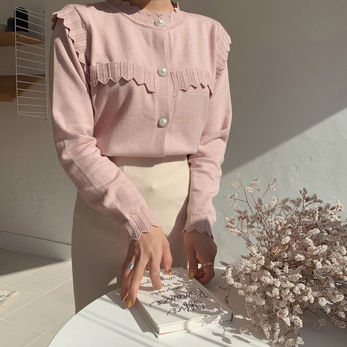 【2A Two】韓國➰波浪紋珍珠釦針織上衣 襯衫『BB00494』