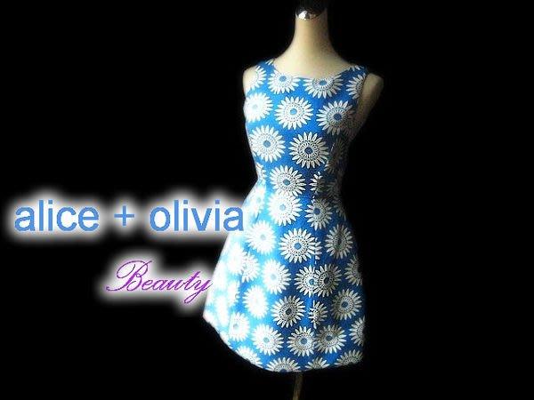 *Beauty*alice + olivia天藍色白向日葵花 A-Line無袖背心洋裝 繃帶洋裝 濱崎步愛用品牌WE14