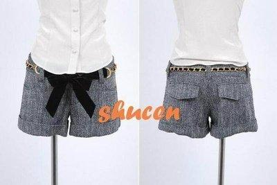 轉賣全新 shucen CECIL McBEE 絲絨水鑽腰鏈灰色毛料短褲 日本代行、小穎、kashin
